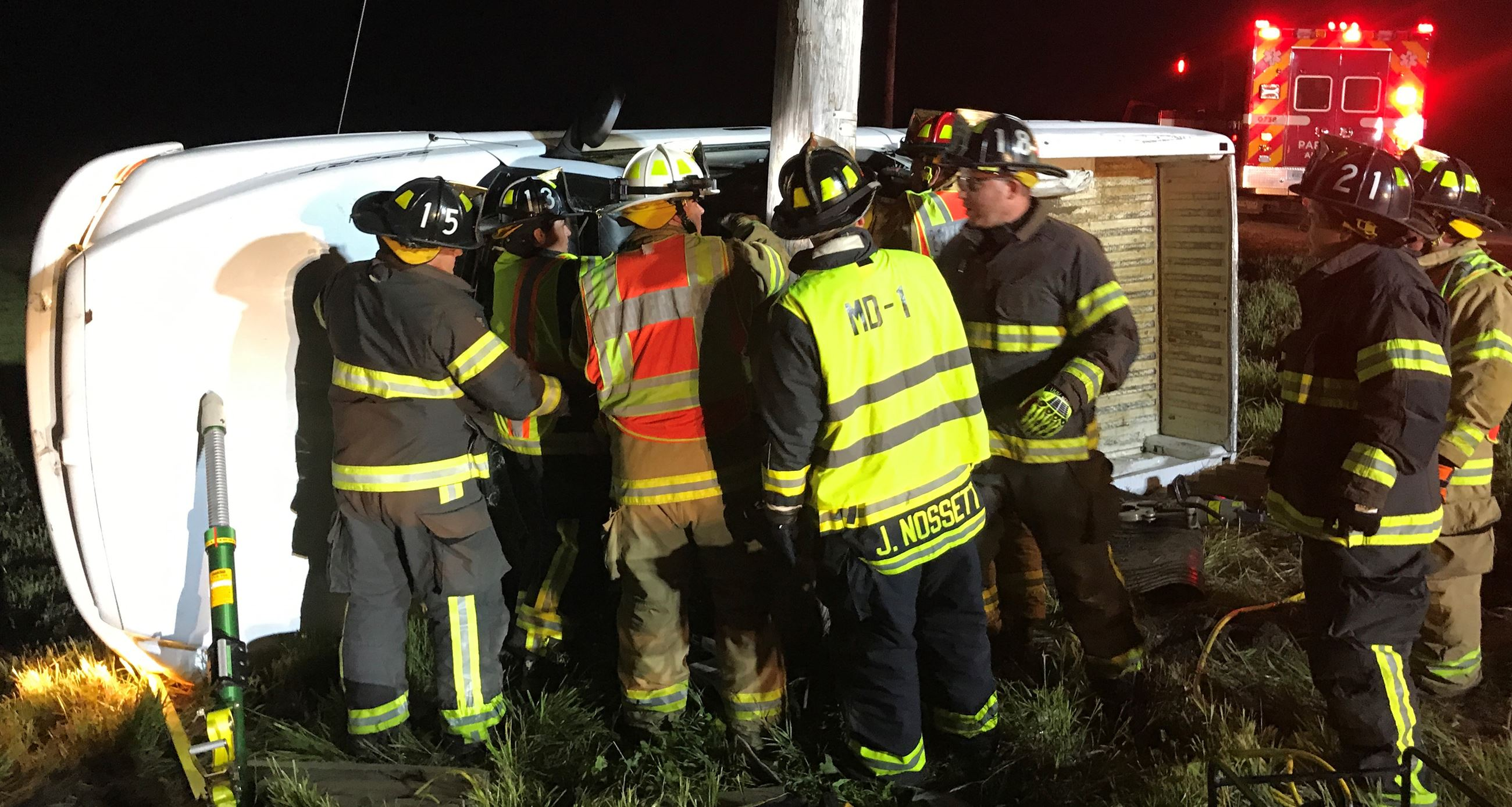 Doctor James Nossett assists Volunteer Firefighters with extrication at personal injury accident